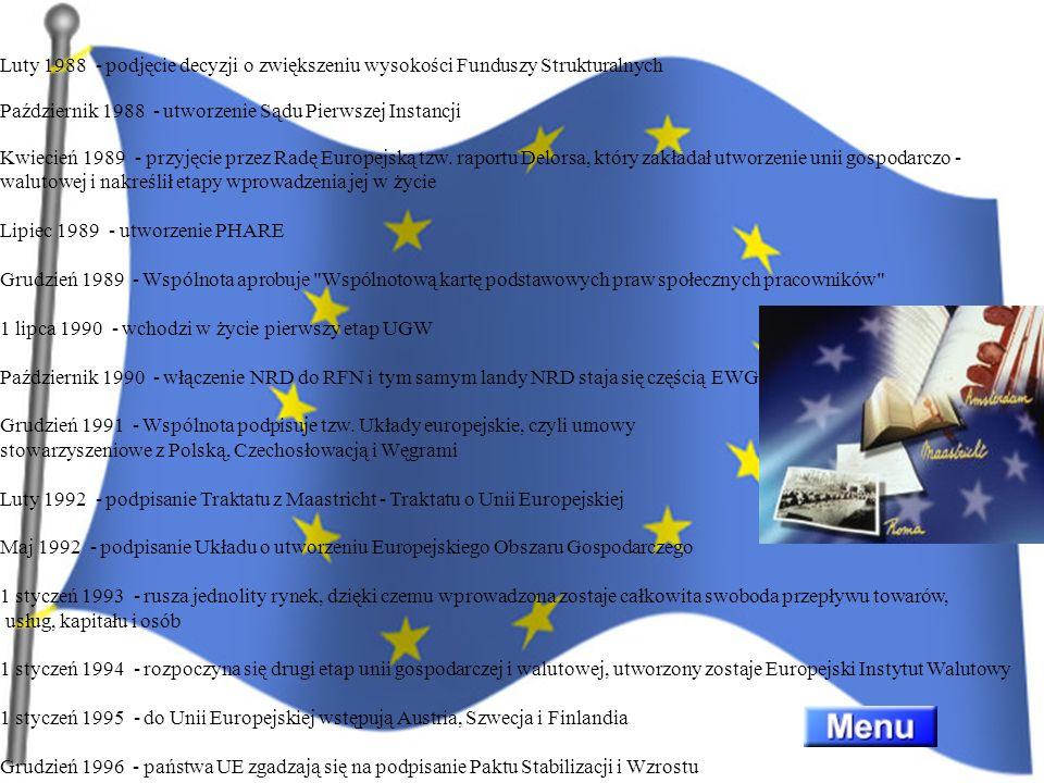 Luty 1988 - podjęcie decyzji o zwiększeniu wysokości Funduszy Strukturalnych Październik 1988 - utworzenie Sądu Pierwszej Instancji Kwiecień 1989 - przyjęcie przez Radę Europejską tzw. raportu Delorsa, który zakładał utworzenie unii gospodarczo -