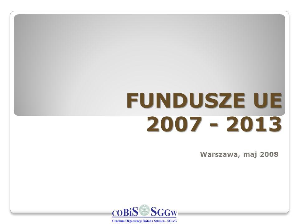 FUNDUSZE UE 2007 - 2013 Warszawa, maj 2008