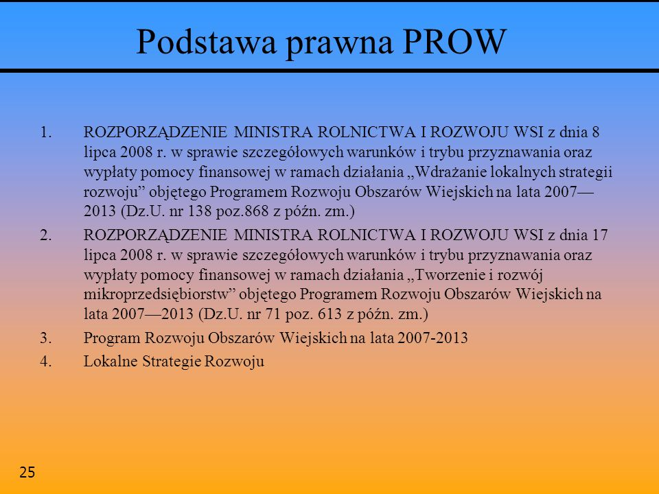 Podstawa prawna PROW