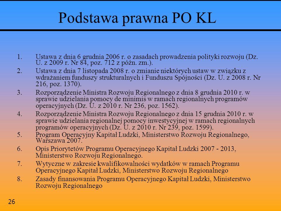 Podstawa prawna PO KL Ustawa z dnia 6 grudnia 2006 r. o zasadach prowadzenia polityki rozwoju (Dz. U. z 2009 r. Nr 84, poz. 712 z późn. zm.).