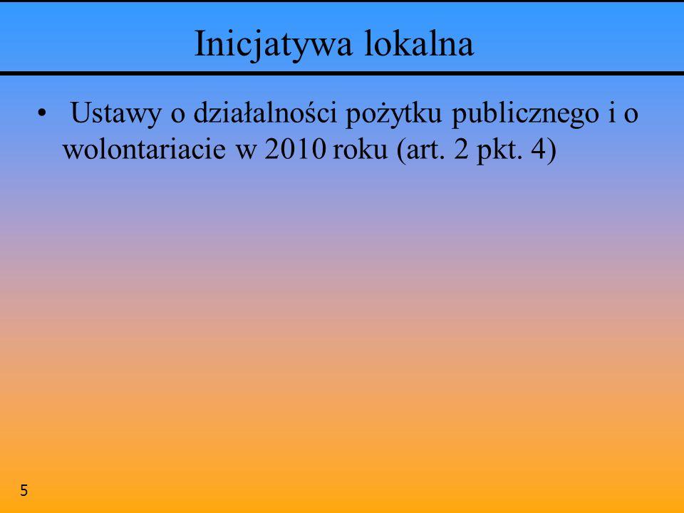 Inicjatywa lokalna Ustawy o działalności pożytku publicznego i o wolontariacie w 2010 roku (art.