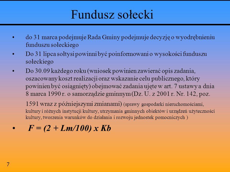 Fundusz sołecki F = (2 + Lm/100) x Kb