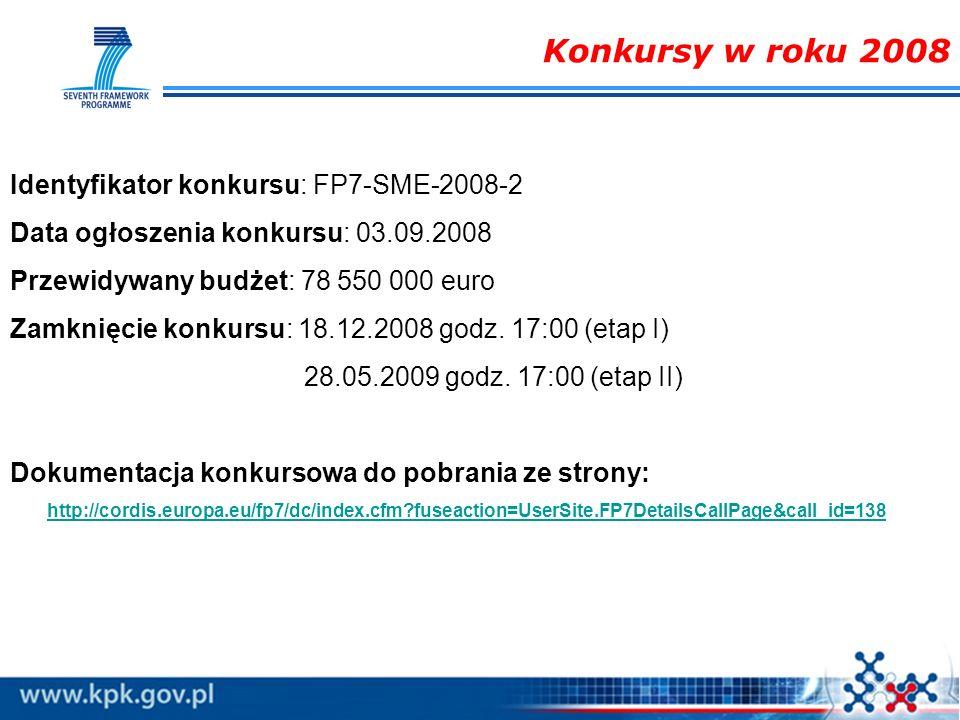 Konkursy w roku 2008 Identyfikator konkursu: FP7-SME-2008-2