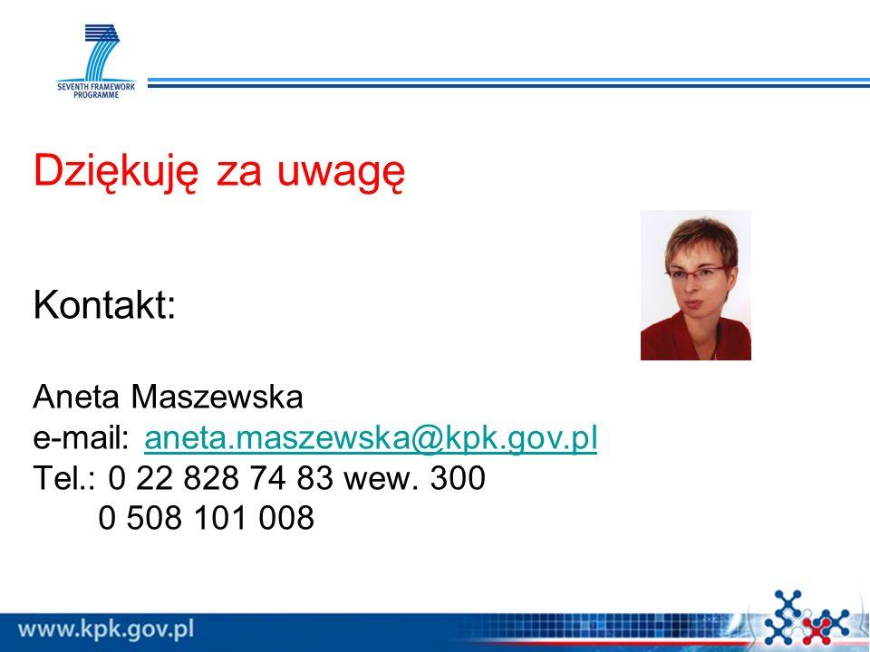 Dziękuję za uwagę Kontakt: Aneta Maszewska