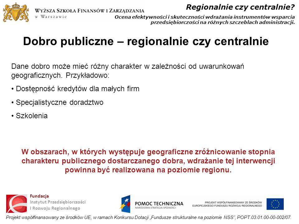 Dobro publiczne – regionalnie czy centralnie