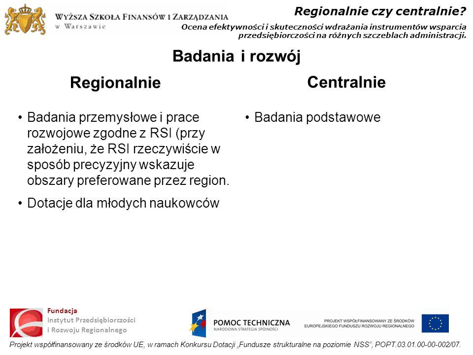 Badania i rozwój Regionalnie Centralnie
