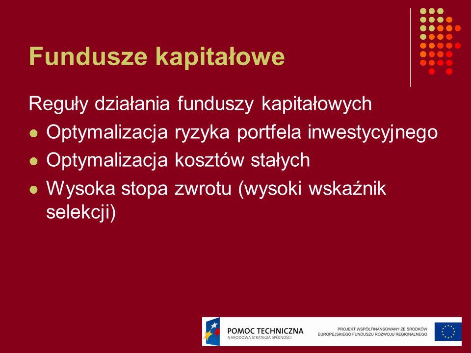 Fundusze kapitałowe Reguły działania funduszy kapitałowych