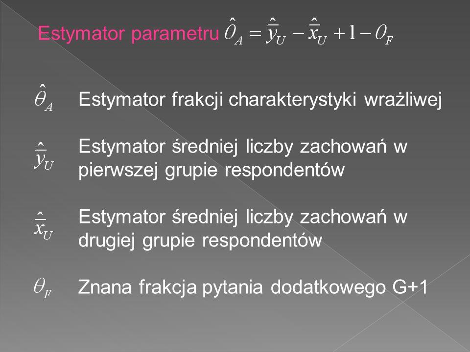 Estymator parametru Estymator frakcji charakterystyki wrażliwej. Estymator średniej liczby zachowań w pierwszej grupie respondentów.