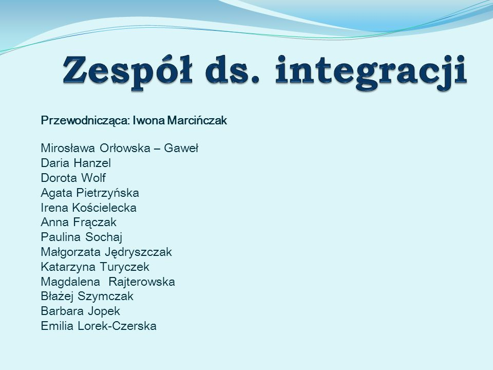 Zespół ds. integracji Mirosława Orłowska – Gaweł Daria Hanzel