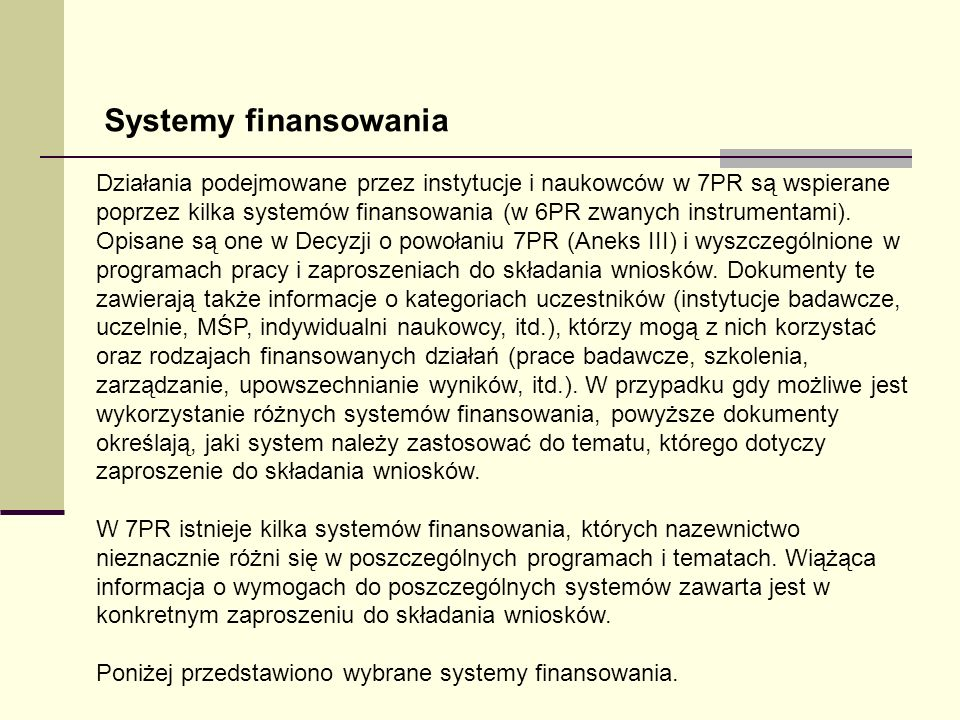 Systemy finansowania