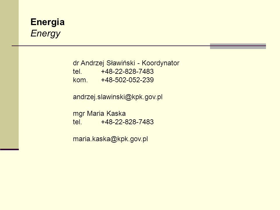 Energia Energy dr Andrzej Sławiński - Koordynator tel. +48-22-828-7483