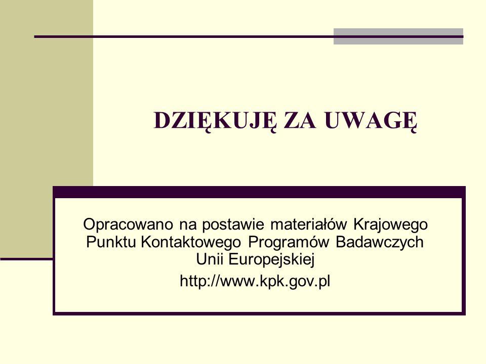 DZIĘKUJĘ ZA UWAGĘ Opracowano na postawie materiałów Krajowego Punktu Kontaktowego Programów Badawczych Unii Europejskiej.