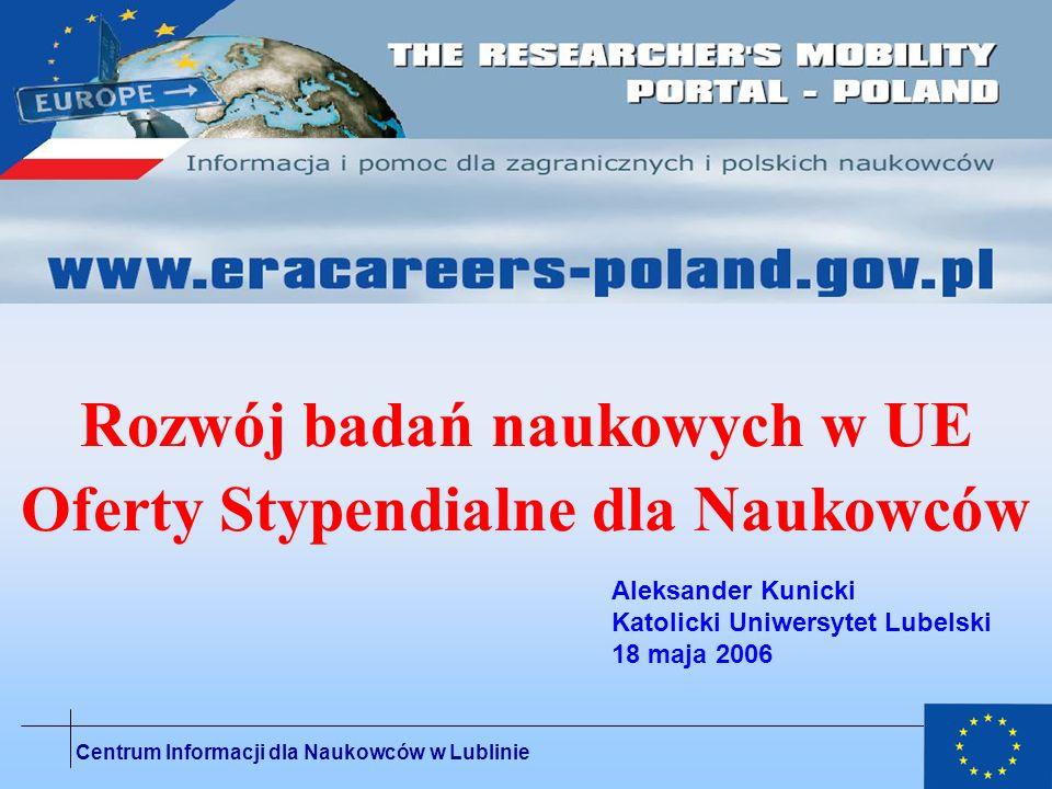 Rozwój badań naukowych w UE Oferty Stypendialne dla Naukowców