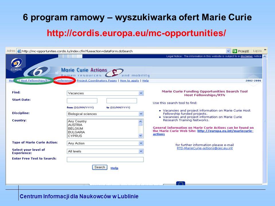 6 program ramowy – wyszukiwarka ofert Marie Curie