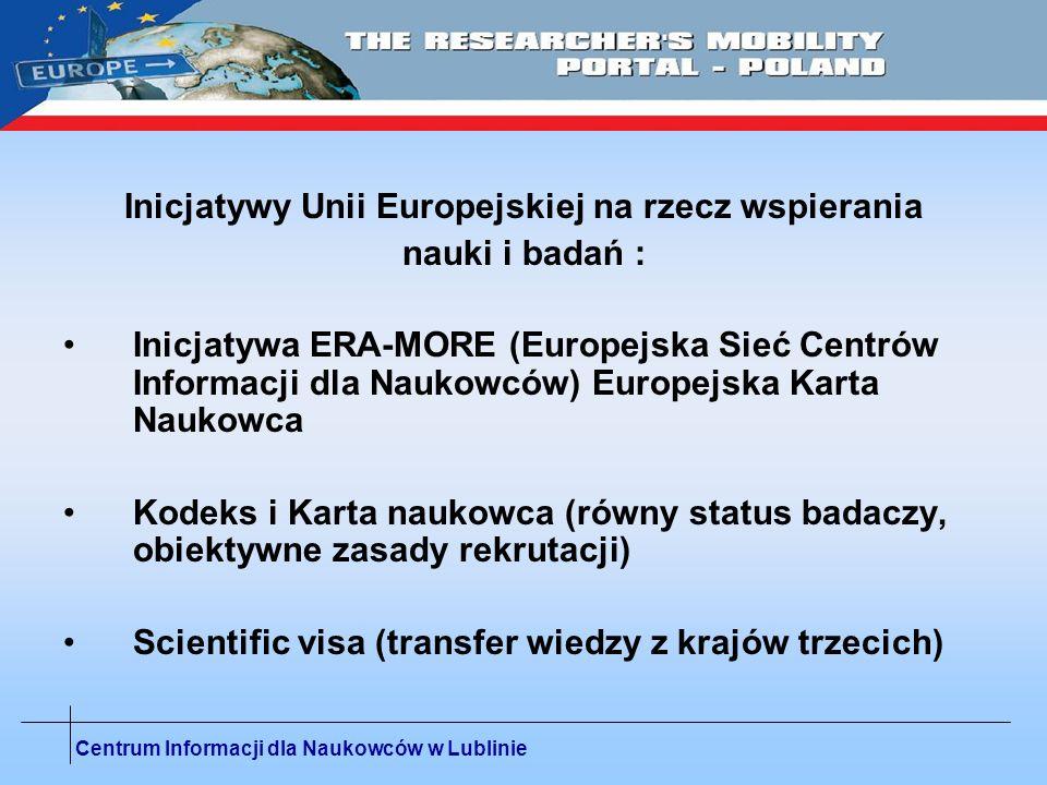 Inicjatywy Unii Europejskiej na rzecz wspierania nauki i badań :