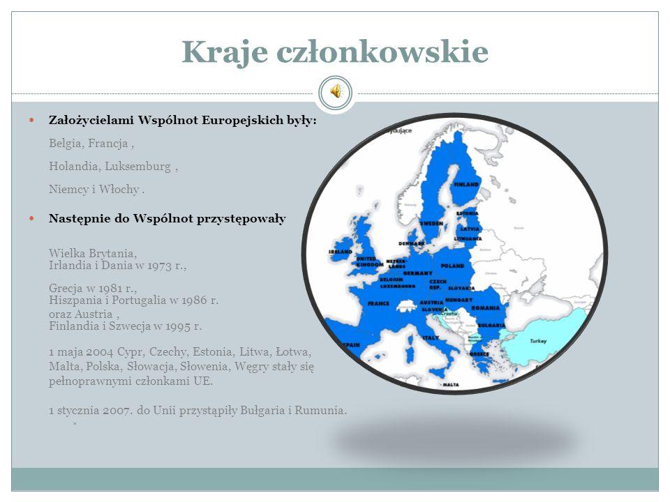 Kraje członkowskie Założycielami Wspólnot Europejskich były: Belgia, Francja , Holandia, Luksemburg , Niemcy i Włochy .