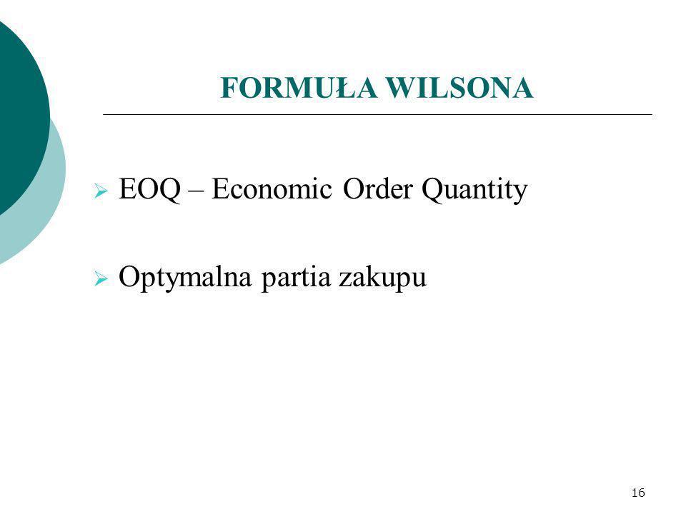 FORMUŁA WILSONA EOQ – Economic Order Quantity Optymalna partia zakupu