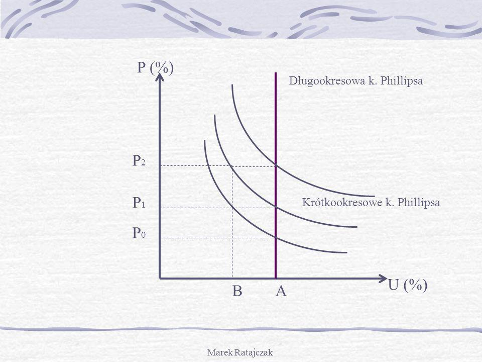 P (%) P2 P1 P0 U (%) B A Długookresowa k. Phillipsa