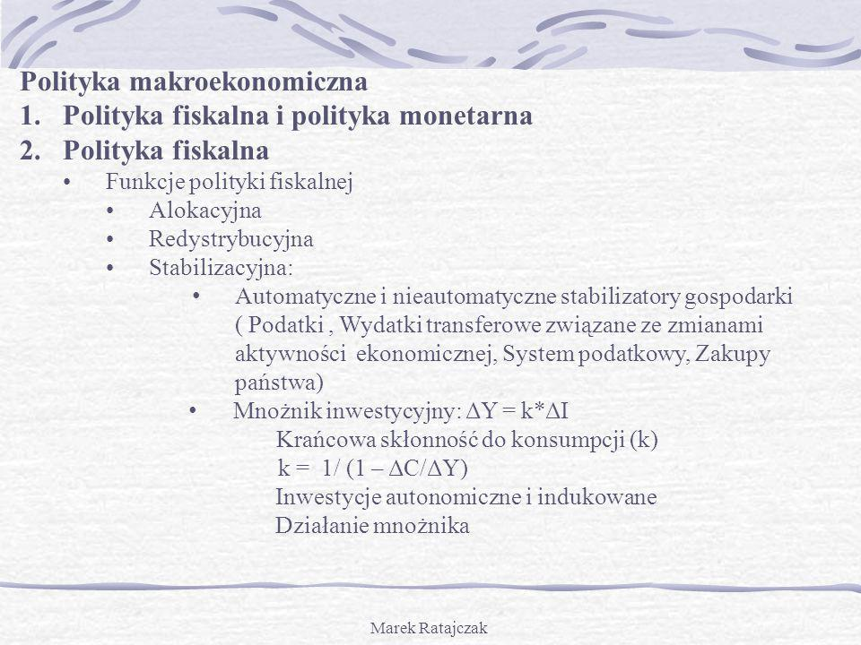 Polityka makroekonomiczna Polityka fiskalna i polityka monetarna