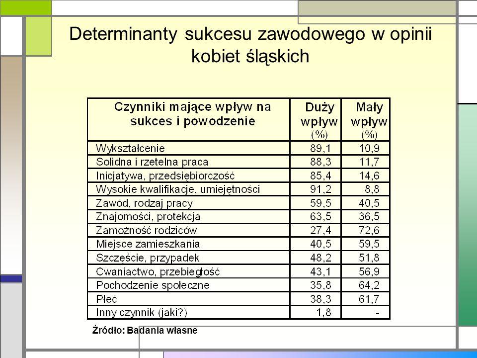 Determinanty sukcesu zawodowego w opinii kobiet śląskich