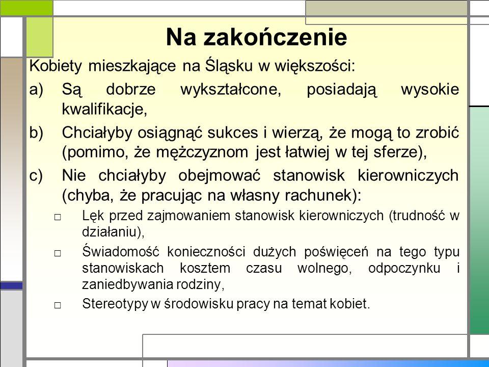 Na zakończenie Kobiety mieszkające na Śląsku w większości: