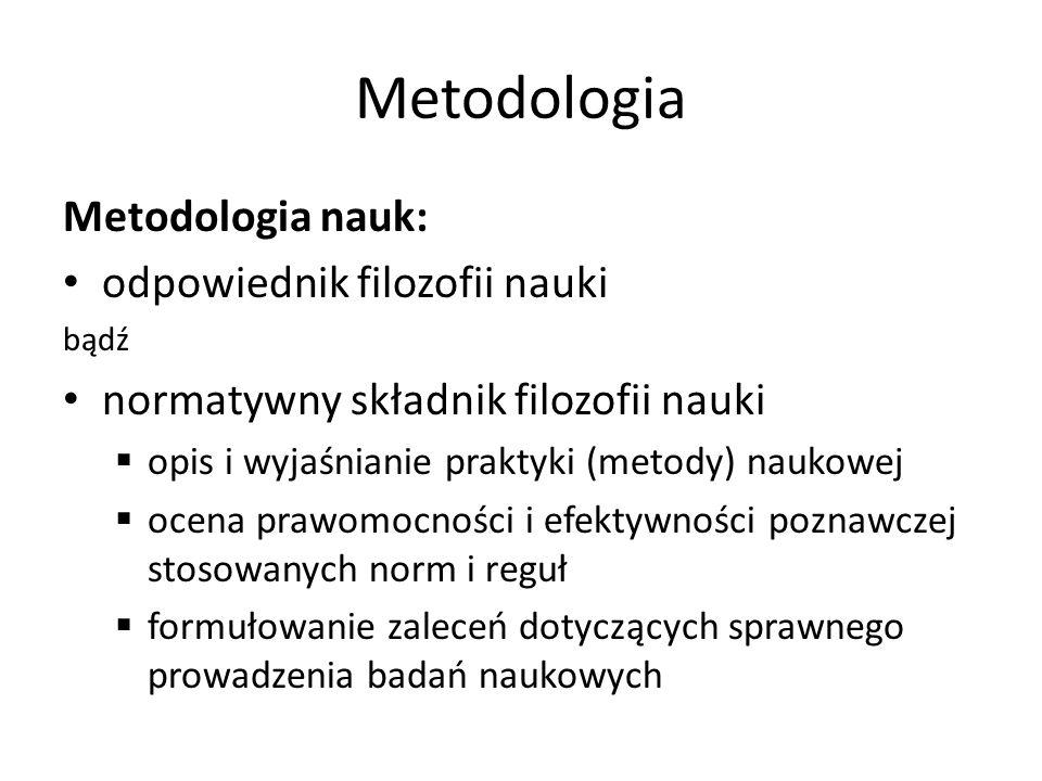 Metodologia Metodologia nauk: odpowiednik filozofii nauki