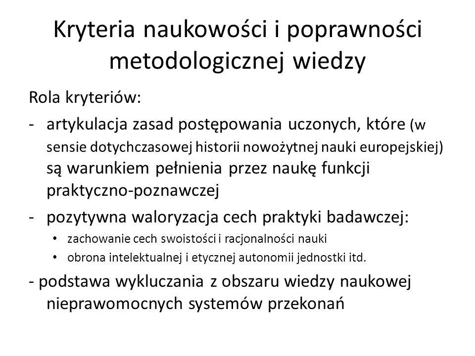 Kryteria naukowości i poprawności metodologicznej wiedzy