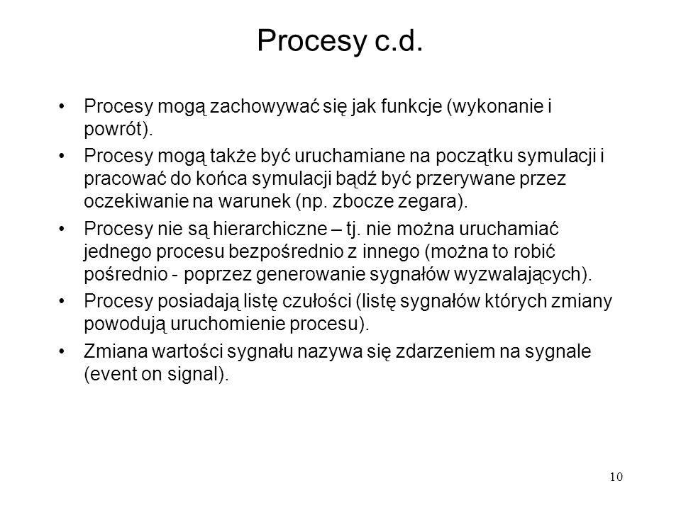 Procesy c.d. Procesy mogą zachowywać się jak funkcje (wykonanie i powrót).
