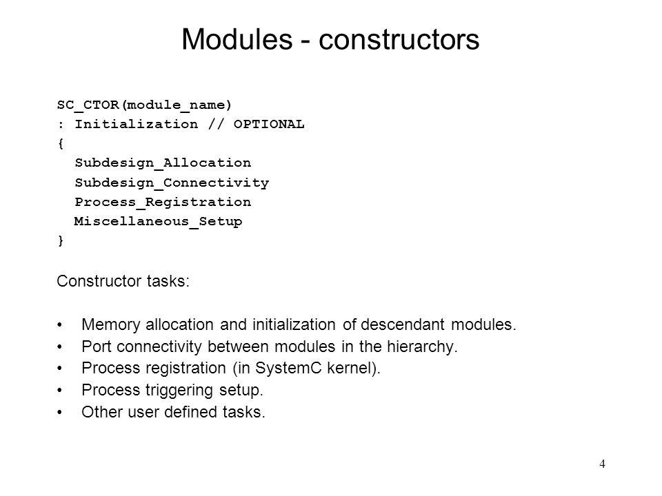 Modules - constructors