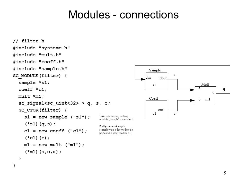 Modules - connections // filter.h #include systemc.h