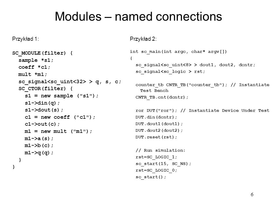 Modules – named connections