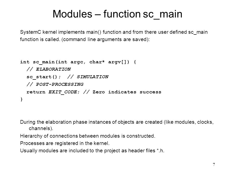 Modules – function sc_main