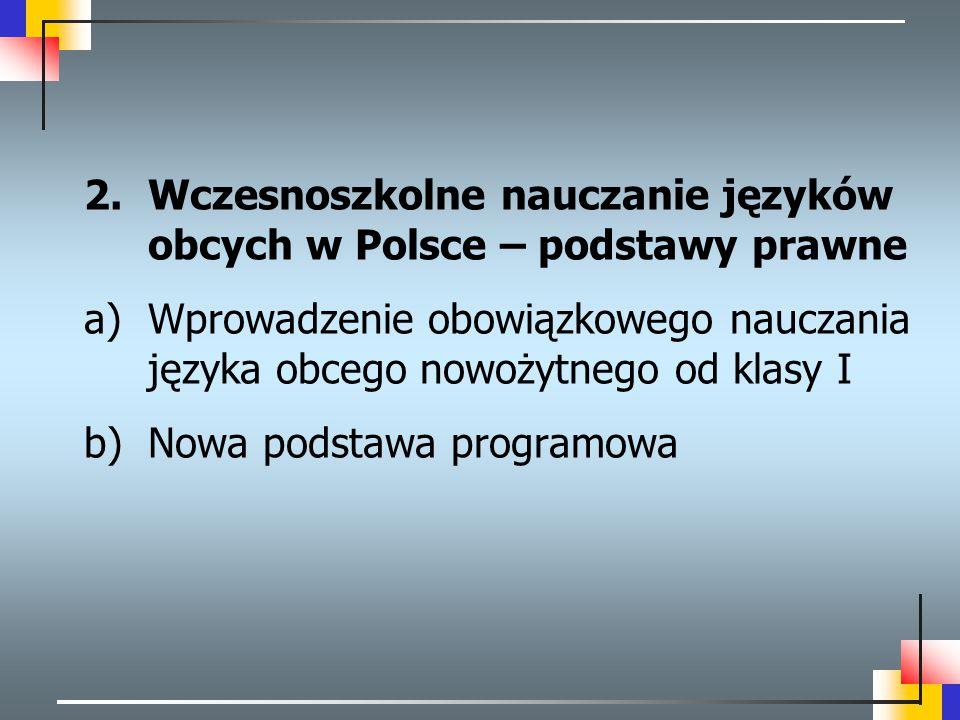 Wczesnoszkolne nauczanie języków obcych w Polsce – podstawy prawne