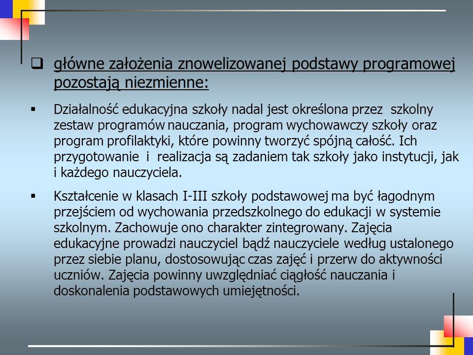 główne założenia znowelizowanej podstawy programowej pozostają niezmienne: