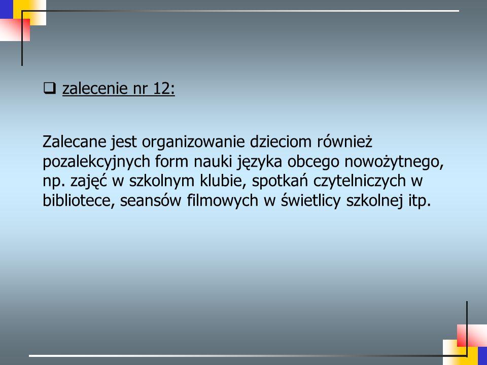 zalecenie nr 12:
