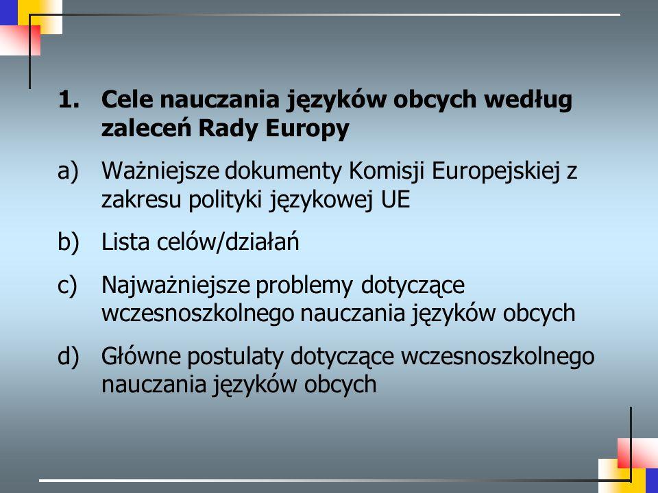 Cele nauczania języków obcych według zaleceń Rady Europy