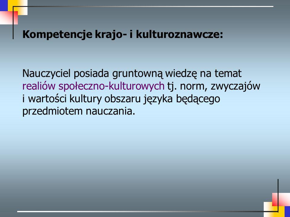 Kompetencje krajo- i kulturoznawcze: