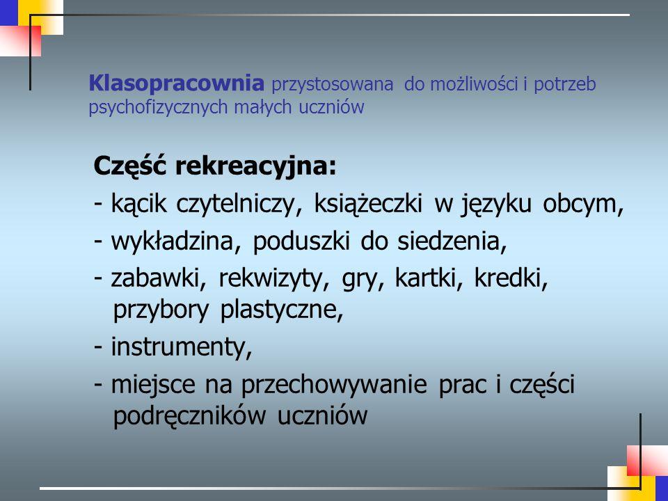 - kącik czytelniczy, książeczki w języku obcym,