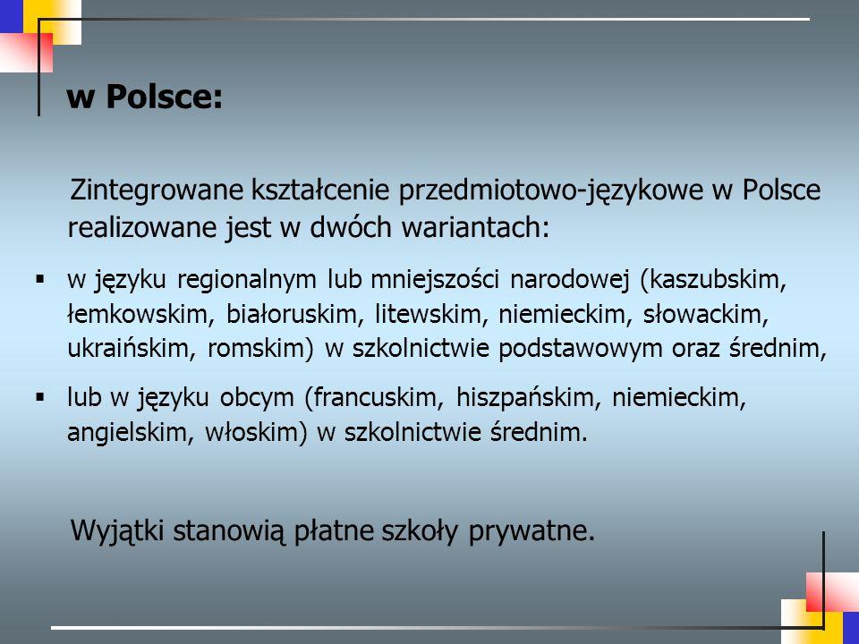 w Polsce: Zintegrowane kształcenie przedmiotowo-językowe w Polsce realizowane jest w dwóch wariantach: