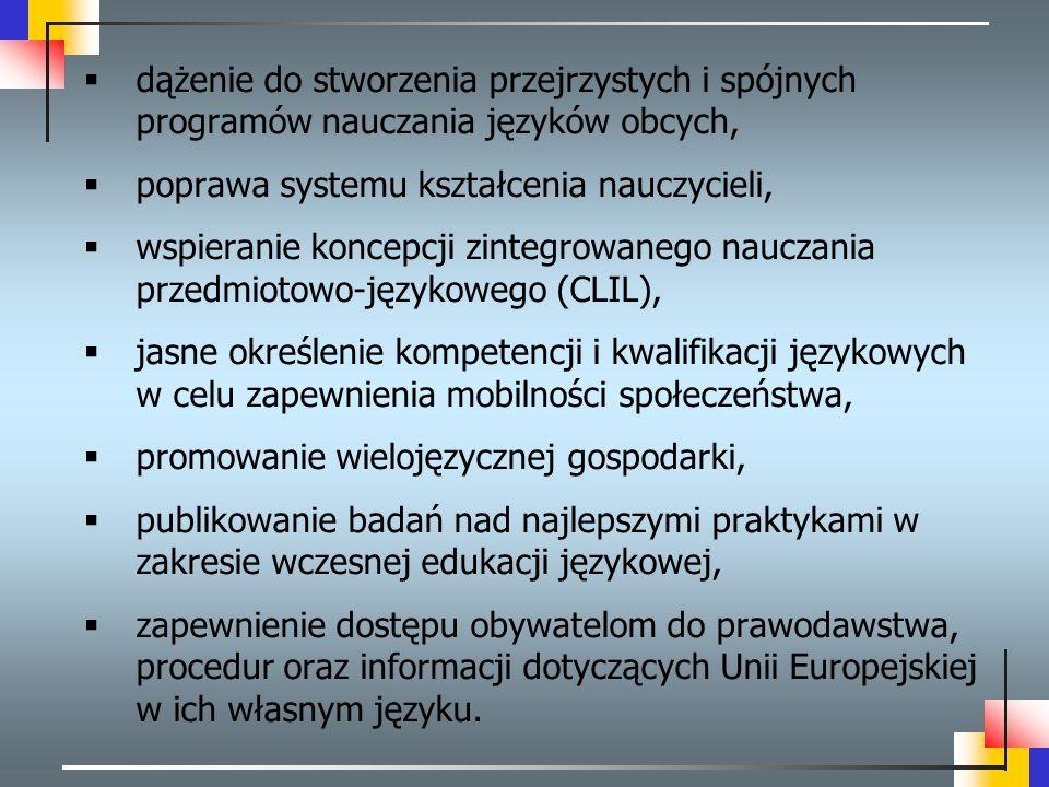 dążenie do stworzenia przejrzystych i spójnych programów nauczania języków obcych,