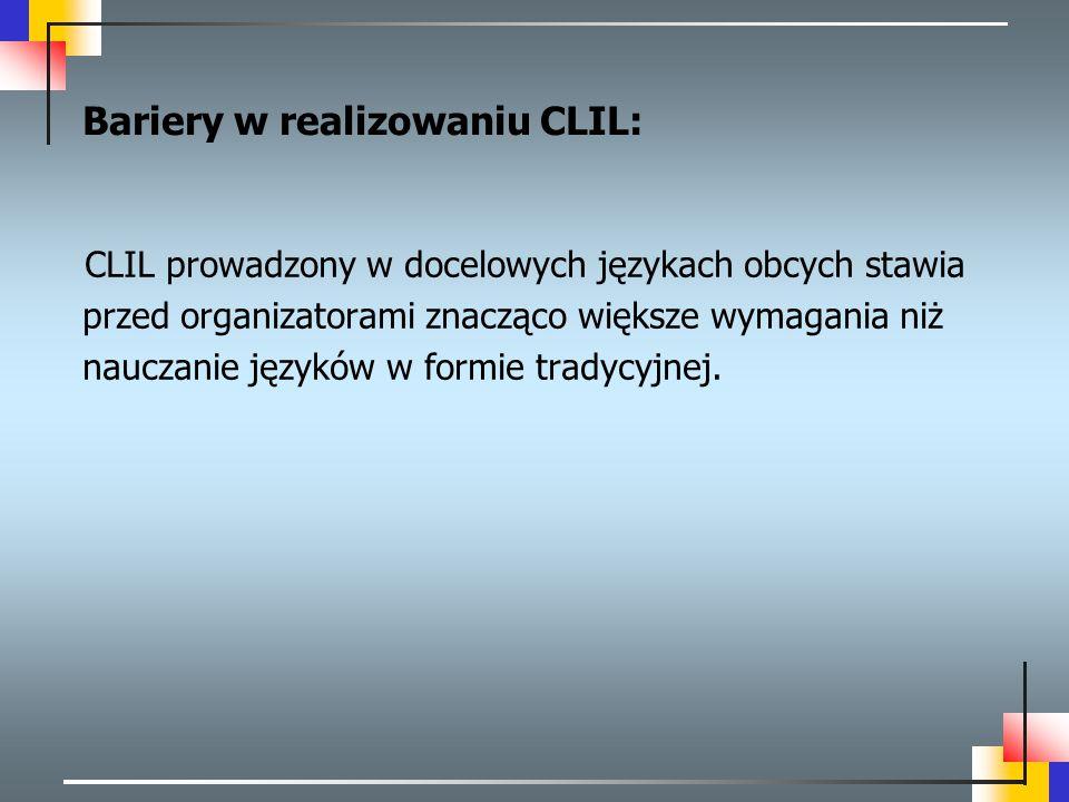 Bariery w realizowaniu CLIL: