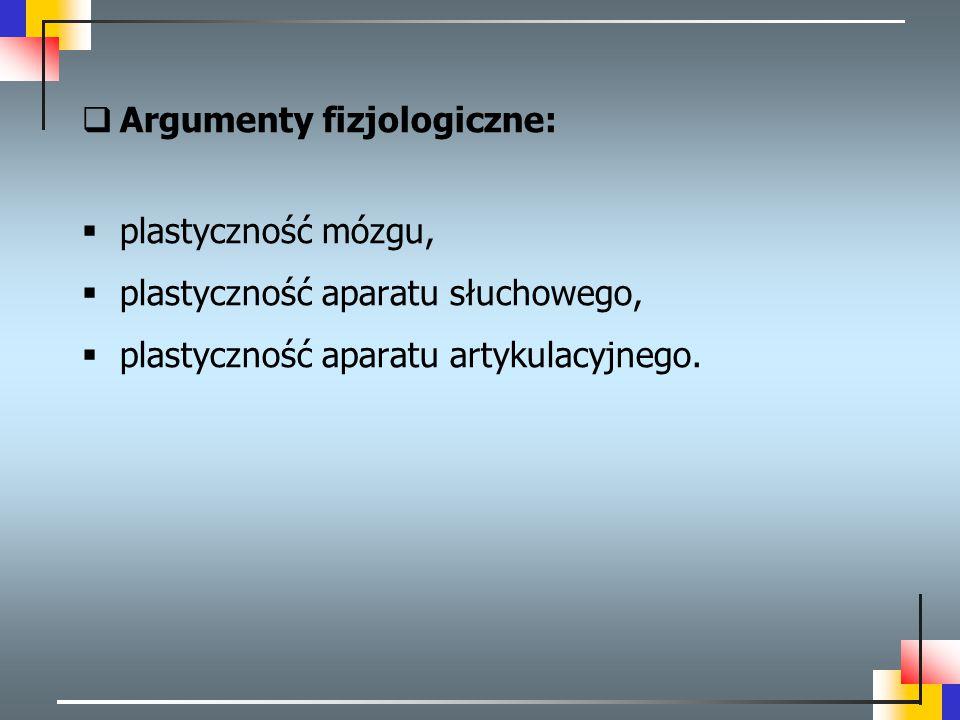 Argumenty fizjologiczne: