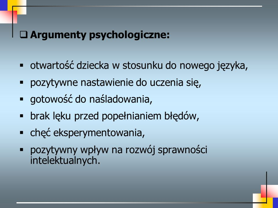 Argumenty psychologiczne: