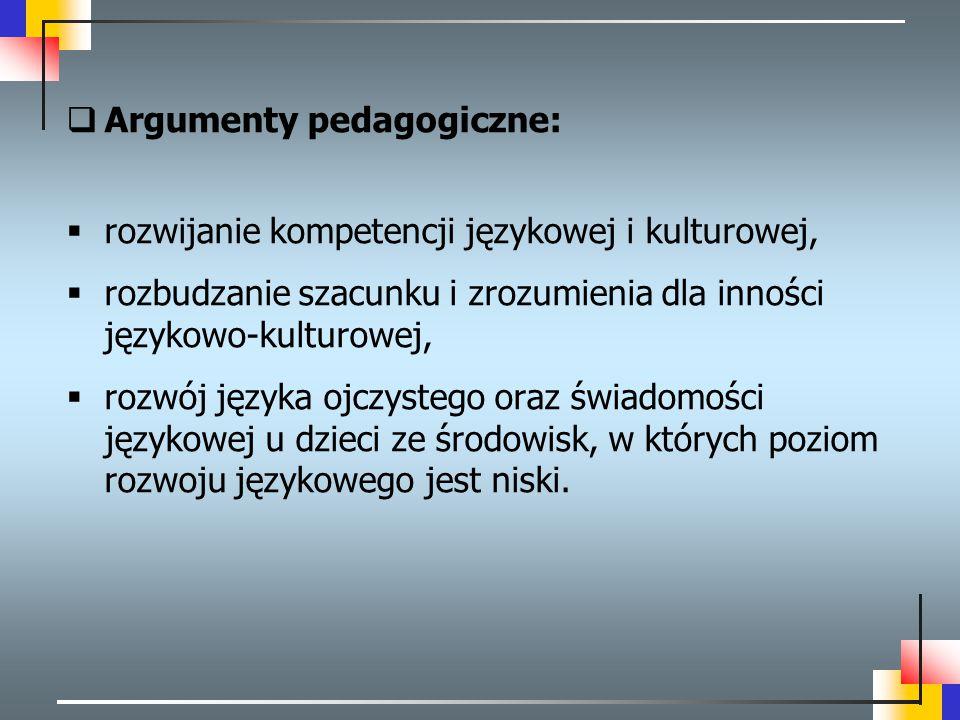 Argumenty pedagogiczne: