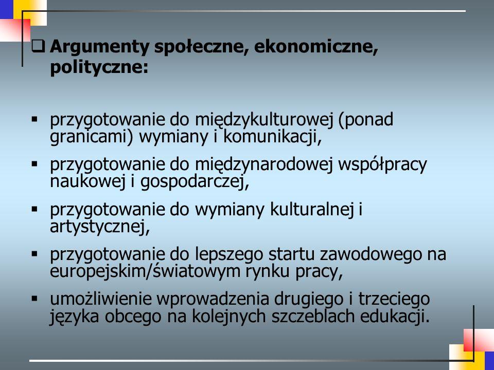 Argumenty społeczne, ekonomiczne, polityczne: