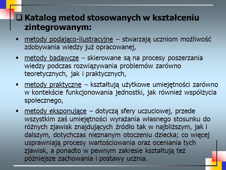 Katalog metod stosowanych w kształceniu zintegrowanym: