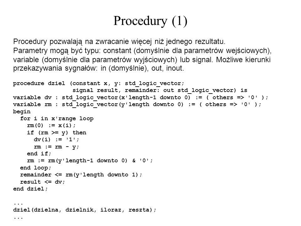Procedury (1) Procedury pozwalają na zwracanie więcej niż jednego rezultatu.