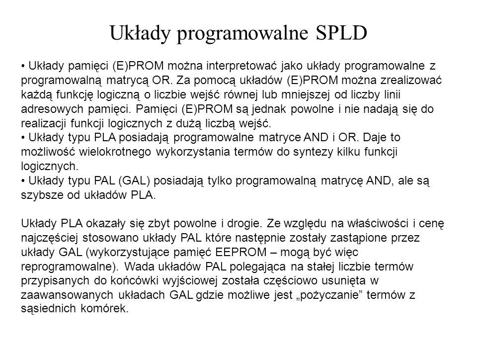 Układy programowalne SPLD