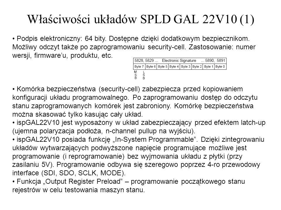 Właściwości układów SPLD GAL 22V10 (1)