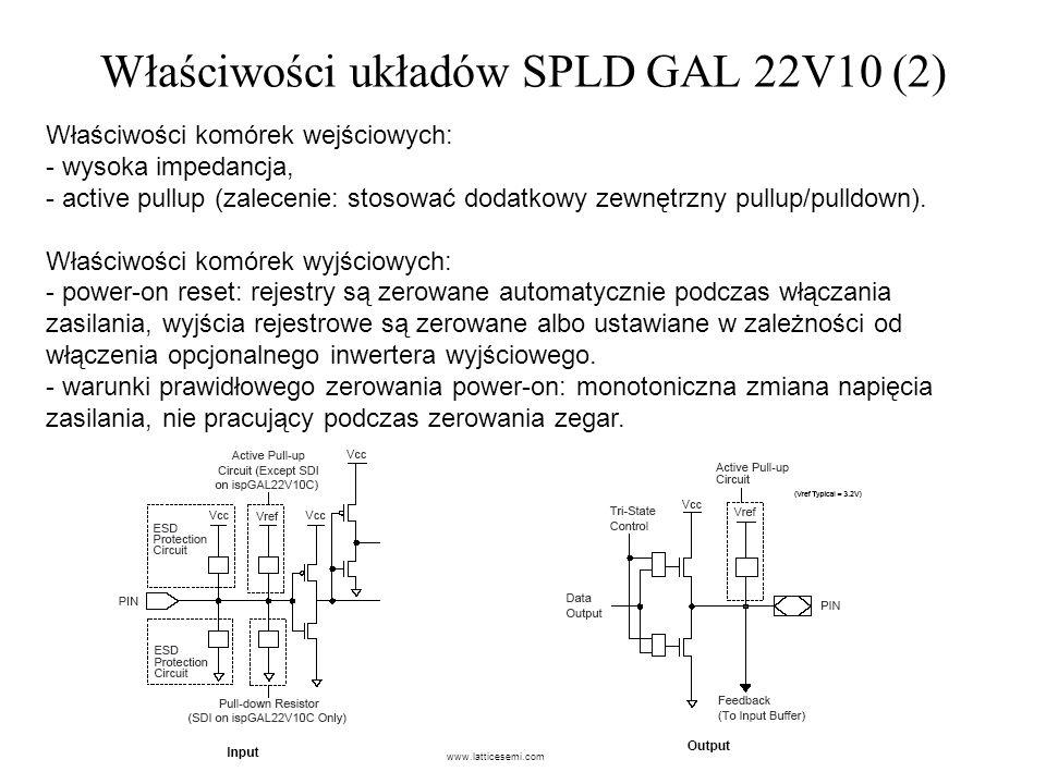 Właściwości układów SPLD GAL 22V10 (2)
